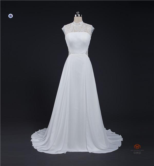 Hmy-e0313 simples Design tradicional elegante do laço gola alta vestido de noiva tradicional 2015
