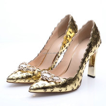 Fashionable brand name pumps shoes engrave hollow out sexy gold heels metal stiletto heels