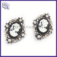 unique modern design earring,large crystal with beautiful girl's head portrait,mirro design earring