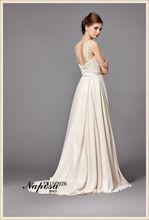 Gorgeous encantadoras simples Una boda línea vestido 2015 vestidos de boda de la elegancia del color de la gasa de encaje vestid