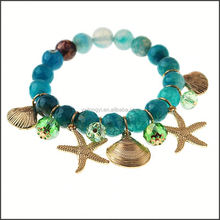 2015 wholesale fashion customized hotsale murano glass starfish charm bracelet