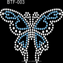 2015 rhinestones hot fix butterfly motif for bags and other accessories