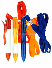 simple plastic ball pen with hanging sope for logo pen
