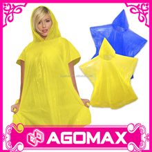 Custom printed plastic rain poncho for kids adult PE disposable rain coat