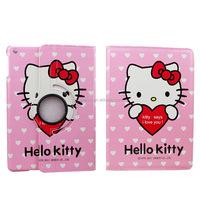 Cut Cartoon Hello Kitty 360 Rotation Pu Leather Case For iPad Air
