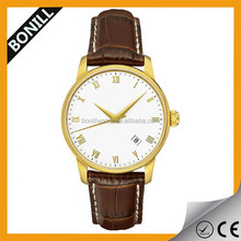 High quality genuine leather strap white stitching stainless steel gold tone watch with japan movement