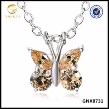 New Silver Jewelry Butterfly Pendant Necklace Champagne Cubic Zircon Product