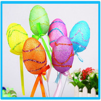 Factory plastic easter decorations colorful egg toys with wood