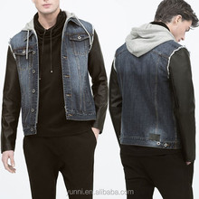 Men Kint hood Combined denim jacket with faux leather sleeves