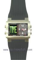 Square shape metal case digital analog electronic waterproof sport watch