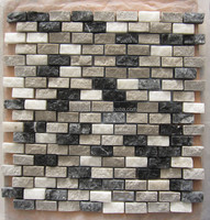 Black grey white color marble mixed tile mosaic
