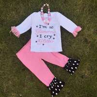 The kindergarten kids girls OUTFITS back to school pant sets girls boutique clothes kids sets with matching accessory