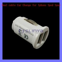 Mini Dual Cable Car Charger for iPhone iPod iPad GPS MP3 MP5 MP4 PSP Mobile