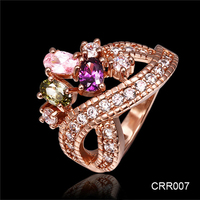 Yiwu Jewelry Factory 2016 Latest Copper Casting Korean Vogue Luxury Wedding Jewelry 18K Gold Ring