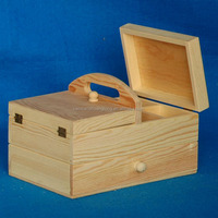 New cheap portable folding pine wooden storage box with handle