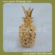 Home decor 2016 ceramic electroplated pineapples wholesale
