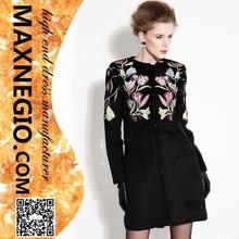 a mano negro de encaje bordado de lujo de diseño de invierno abrigo de cachemir señoras trajes de lana