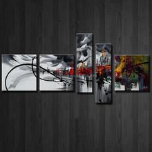 5Panels Handpaint Group Abstract Decor Painting HK-GP 515