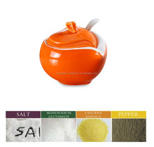 Unique Small Ceramic Spice Jars with spoon, heart shape lid well glazed salt,honey canister