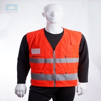 EN20471 waterproof high visibility red work safety vest with pockets