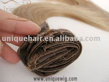 Top quality Grade AAAA double drawn clip in hair extension