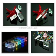 High Quality custom 3D logo crystal flash drive usb 2.0 drive/Crystal usb pen drive with led light