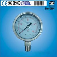 "4"" stainless steel 160PSI 12BAR bourdon tube hydraulic pressure gauge SS316L"