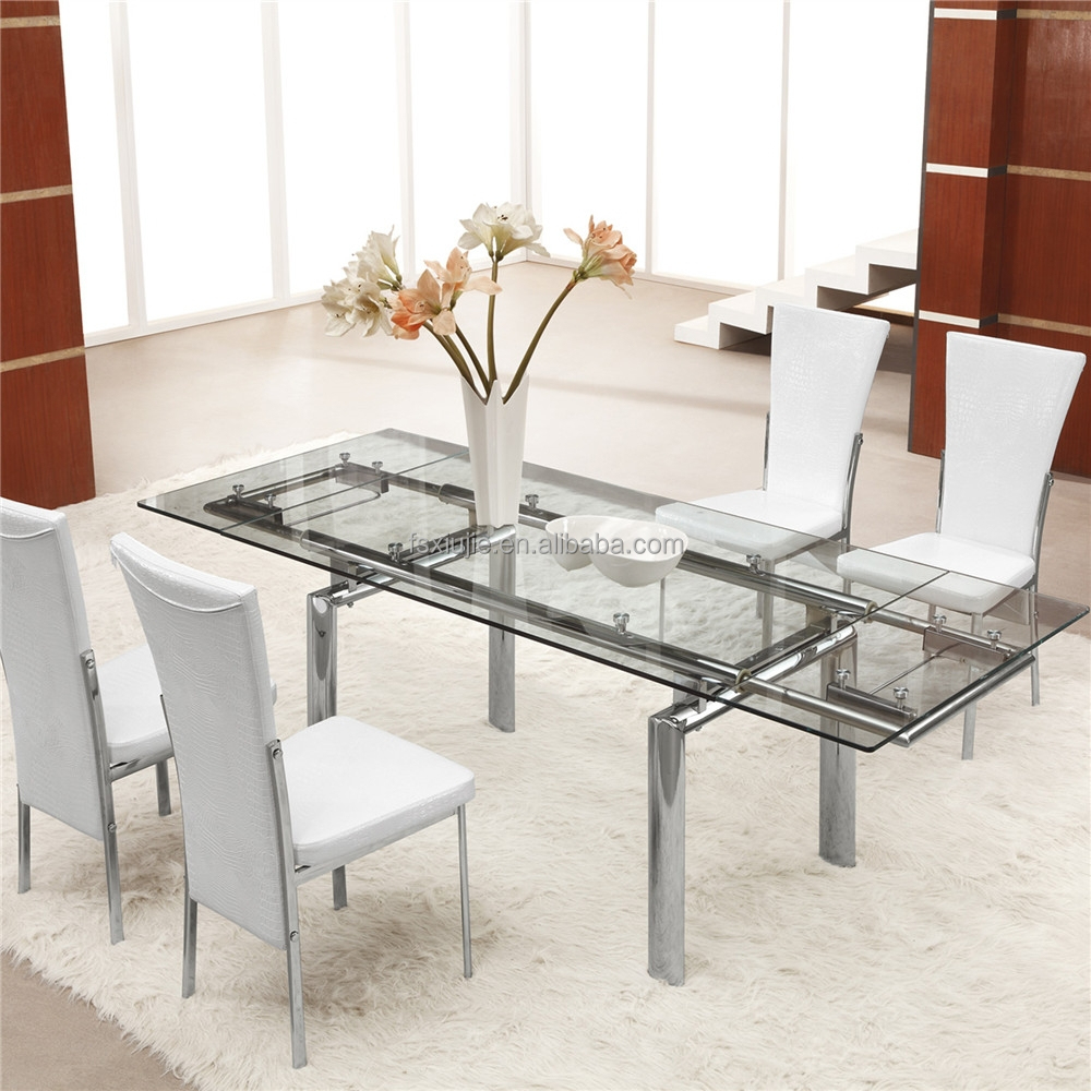 Extendable dining table set dining tables astounding for Extendable glass dining table