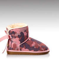 HC-718 Stylish warm plush lining high quality rubber sole leather boots for women in navy color with bailey bow design