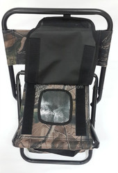 Camo folding picnic cooler stool with hand carryings