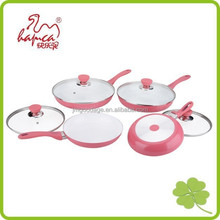 8pcs set Nonstick Frypan, Pink, Home Cooking, Ceramic coating frying pan