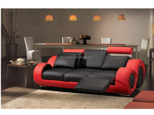 Top selling modern lounge furniture red and black real leather 3 seater sofa 109A