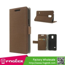 Cloth Leather Magnetic Case w/ Card Slots for Samsung Galaxy S5 mini SM-G800