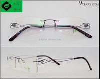 2015 china popular Purple rimless women titanium optical frame, titanium eyeglasses frame with diamond