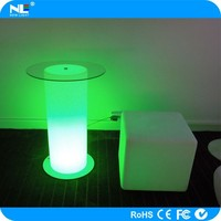 Party modern glass LED cylinder bar tables / LED night light bar table / color changing LED magic tables