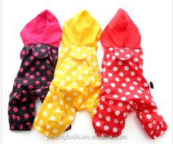 Pink/Red/Yellow Polka Dot dog rain coat pet Jacket Waterproof clothes