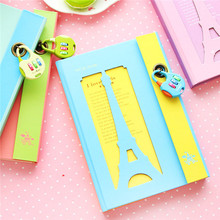New Design japan stationery color pages inner Paris iron tower hard cover notebook with coded lock