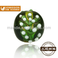 Fashion European deshign ,clothes&jewelery deconation lampwork glass bead with branch pattern, embedded white spots