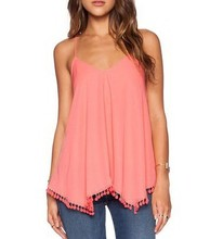 Custom design newest lady tassel hem blouse tops halter sexy party pink tops factory
