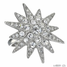 Fashion Wholesale Alibaba Jewellery Ring For 2015 Silver-tone Ring With Sparkling Starburst