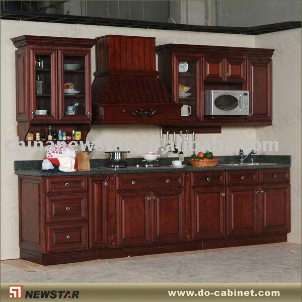 Sólido de madera antiguos gabinetes de cocina