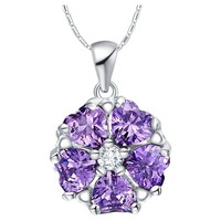 SJ Factory 2015 Latest SJN005 18K Gold Plated Copper Cubic Zirconia Pendant Round Necklace for Women As Anniversary Gift