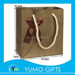 new design high quality gift carry bag folding reusable, luxury vogue bow tie gift packing bag