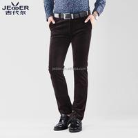 Brown velvet tapered pants for men