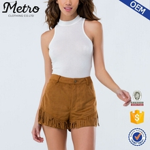 Lady Modern Style Custom Camel Faux Suede Shorts With Fringes