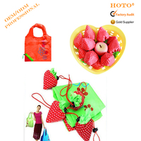 Promotional Eco Reusable recycled Fruit Bag Nylon Polyester Folding Shopping Bag