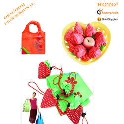 Promotional Eco Reusable recycled Fruit Bag Nylon Polyester Folding Shopping Bag