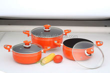9PCS aluminium good looking cookware with bakelite mat and suction knob