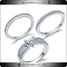 925 Sterling Silver Female Wedding cz Ring Set