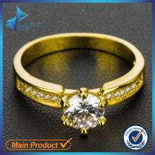 14k yellow gold plated white cubic zirconia brass ring